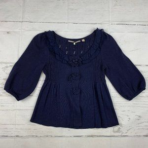 Knitted & Knotted Anthro cardigan sweater J16